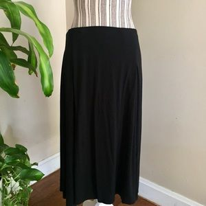 J.Jill Black Knit Midi Skirt Pleat Details
